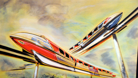 Monorail illustration, John Hench