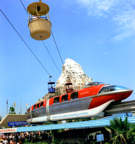 Disneland, Tomorrowland, monorail and Skyway