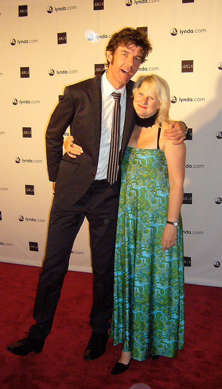Stefan Sagmeister with snappy tie and Marian Bantjes in a dress of her own fabric design