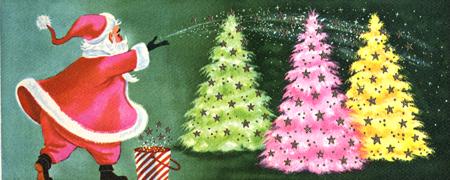 Santa sprinkle with garish and wonderful trees