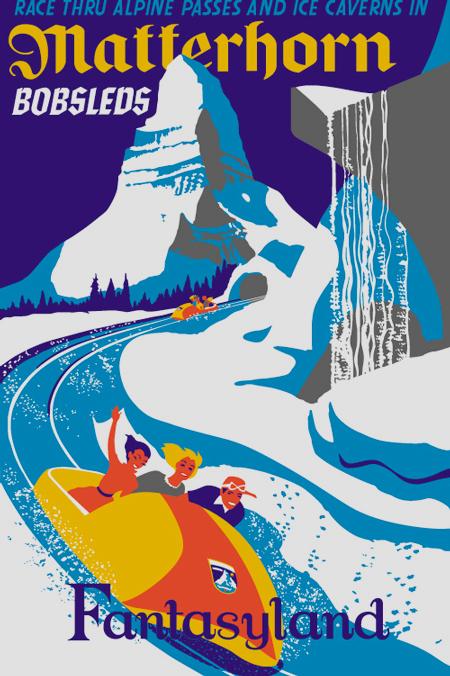 Disneyland Matterhorn Bobsleds poster, circa 1959