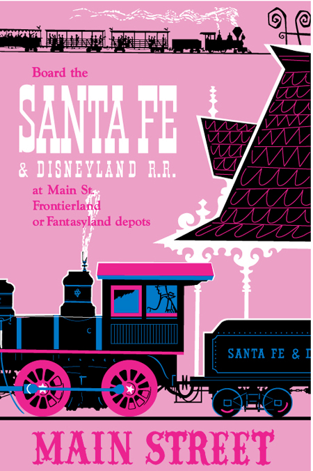 Santa Fe and Disneyland Railroad poster, circa 1955