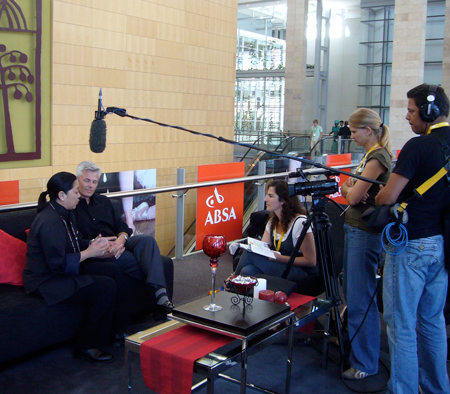 Noreen Morioka, Sean Adams, TV crew, Capetown South Africa 2008.