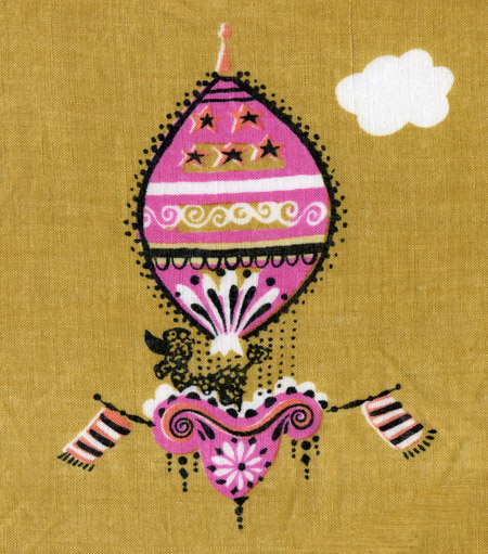Pat Prichard handkerchief, poodle and hot air balloon