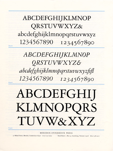 Garamond, Stinehour Press sample: this is what Garamond should look like