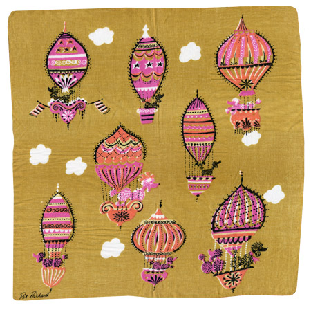 Pat Prichard handkerchief, poodles and hot air balloons