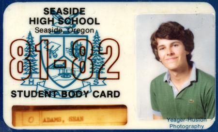 Seaside High School id card, 1982