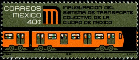 Stamp, Mexico City Metro, 1969