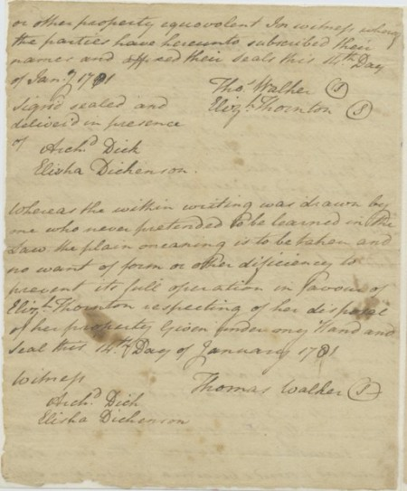 Dr. Thomas Walker to Elizabeth Thornton, 1780