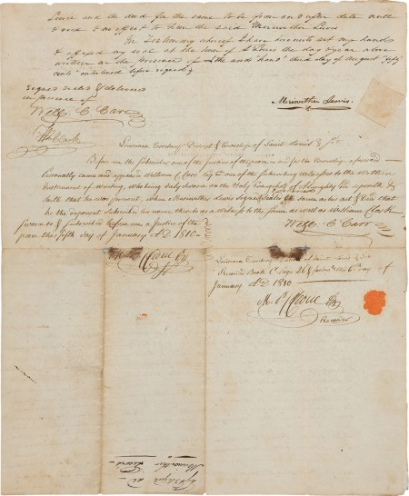 Meriwether Lewis letter annotated 1810