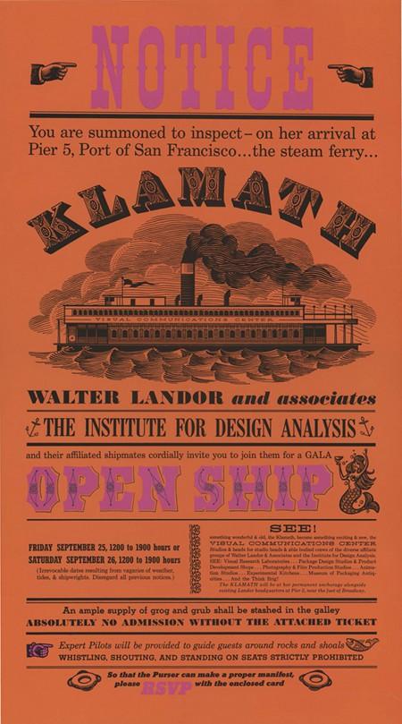 The Klamath opening poster, Landor and Associates