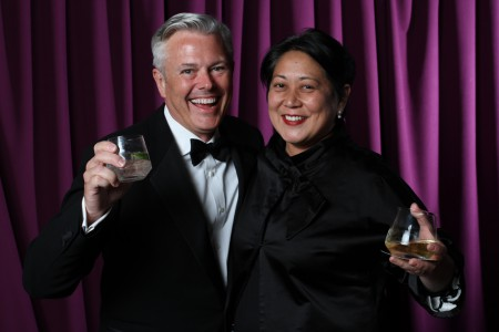 Sean Adams, Noreen Morioka with drinks as usual