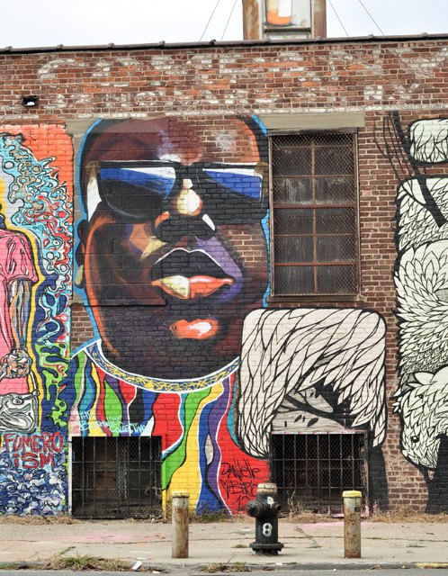 Notorious b i g mural about to be destroyed bed stuy for Biggie smalls mural brooklyn