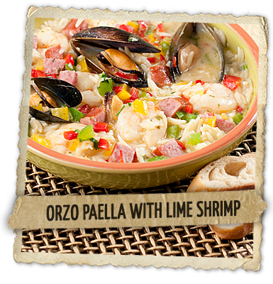 Orzo Paella With Lime Shrimp