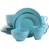 Gibson Stanza 16-Piece Dinnerware Set - Turquoise