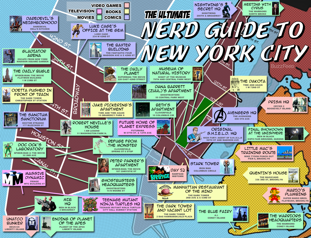 The Ultimate Nerd Guide To New York City - New york city map with neighborhoods