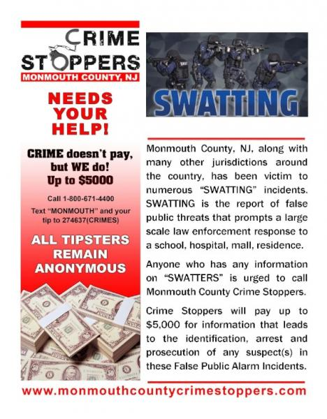Reward Offered For Information On Monmouth County 'Swatting' Incidents