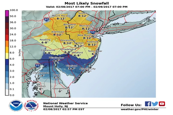 UPDATE: Monmouth County Could See 1 Foot Of Snow Thursday
