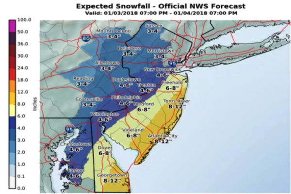 UPDATE: Snowstorm Could Dump 1 Foot Of Snow On Monmouth County