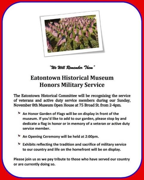 Eatontown Historical Committee To Honor Veterans Nov. 8
