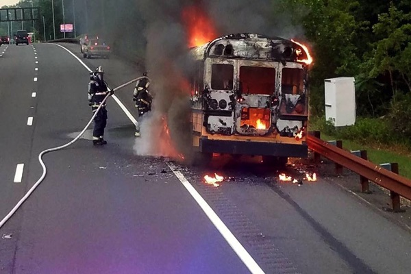 Driver Escapes School Bus Fire On Parkway