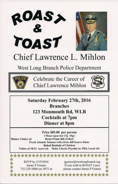 Guests Can 'Roast and Toast' Ex-WLB Police Chief Feb. 27