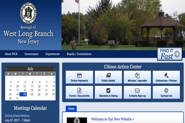 West Long Branch Website Back Up with New Features