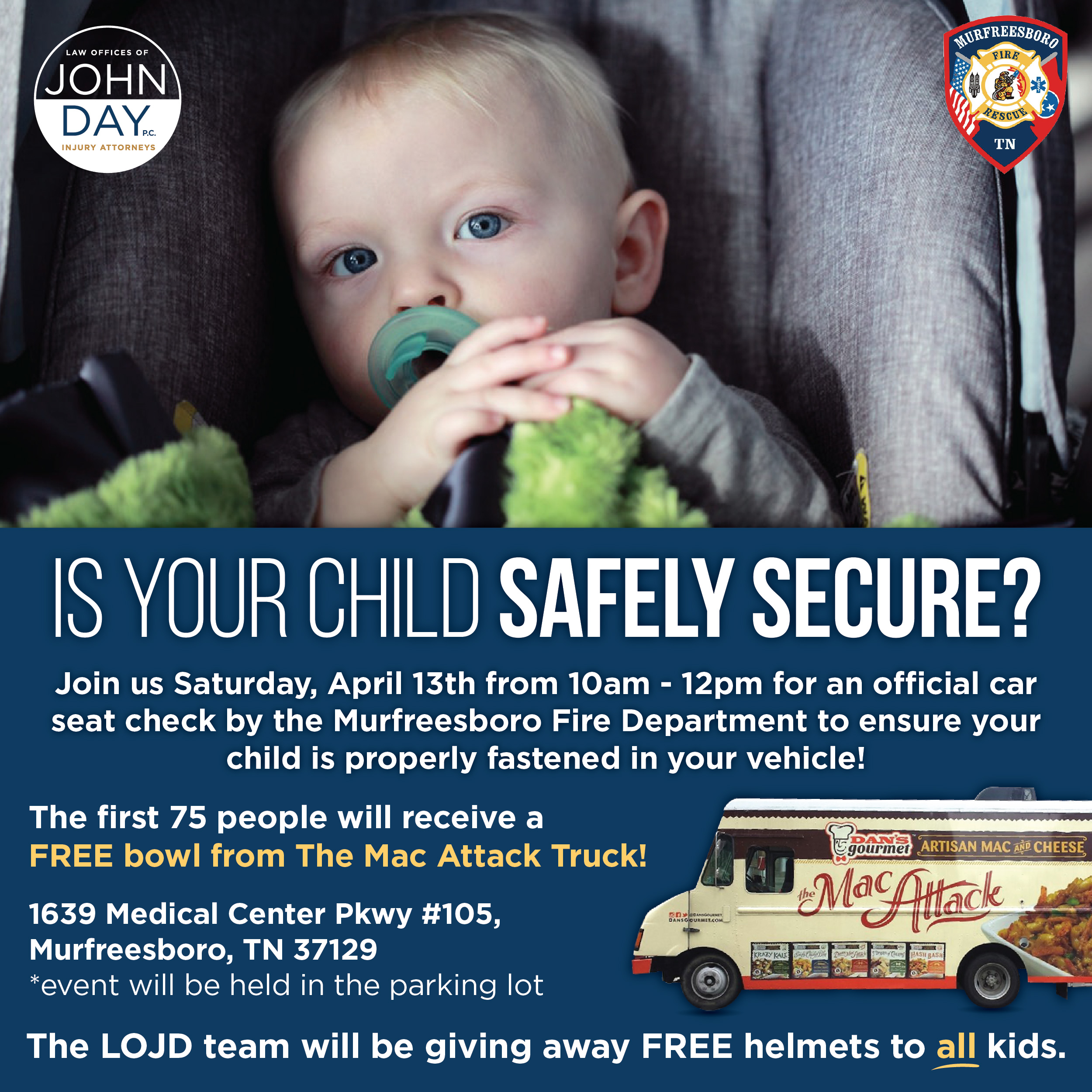 Free Food, Free Bike Helmets for Kids, Prizes and Free Child Safety Seat Checks on April 13th