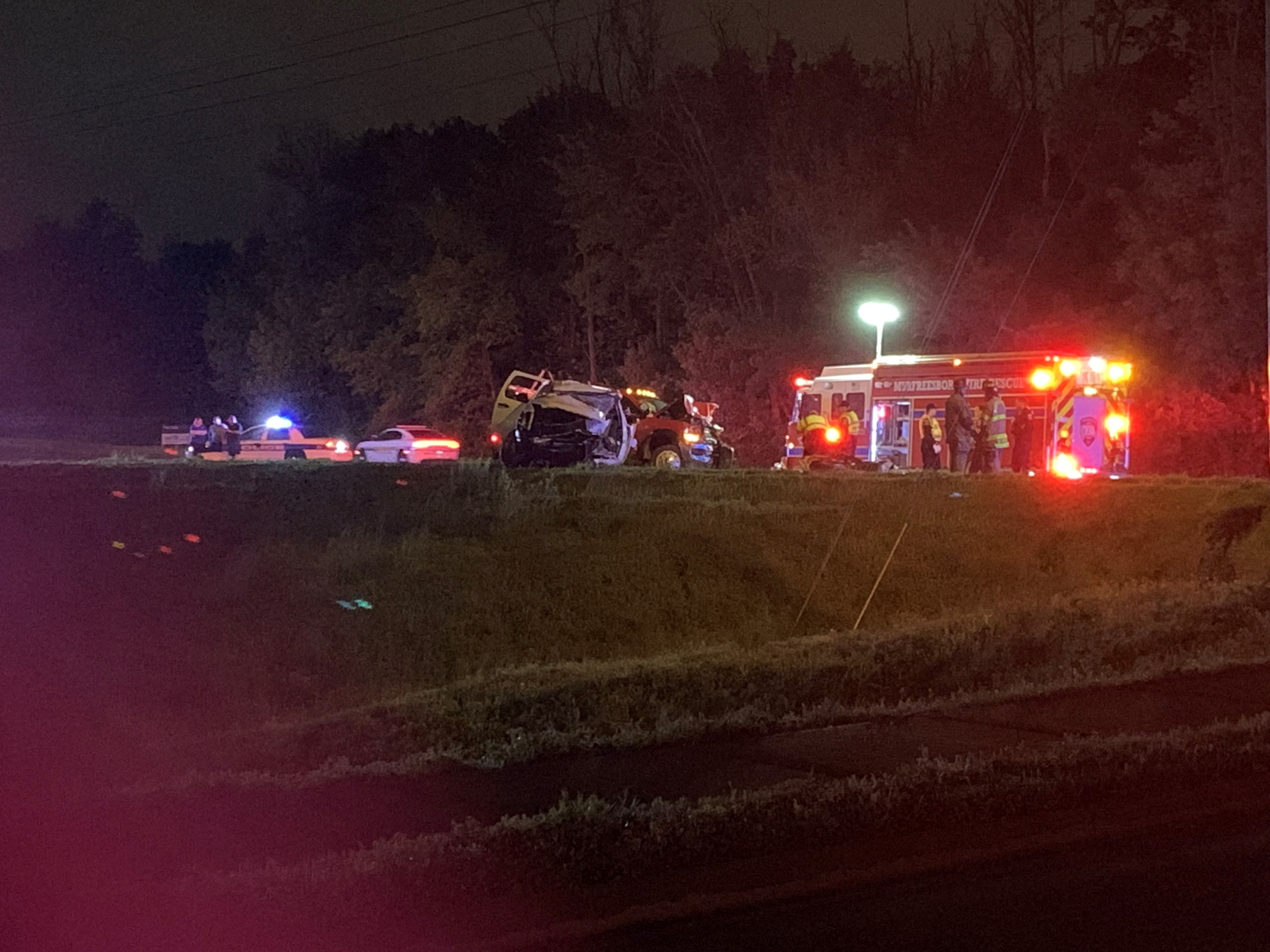 Members of the Murfreesboro Police Department (MPD) Fatal Accident Crash Team, or F.A.C.T., are investigating a serious head-on crash where a vehicle burst into flames, trapping the driver, just after 11:00 p.m. Saturday, April 25.