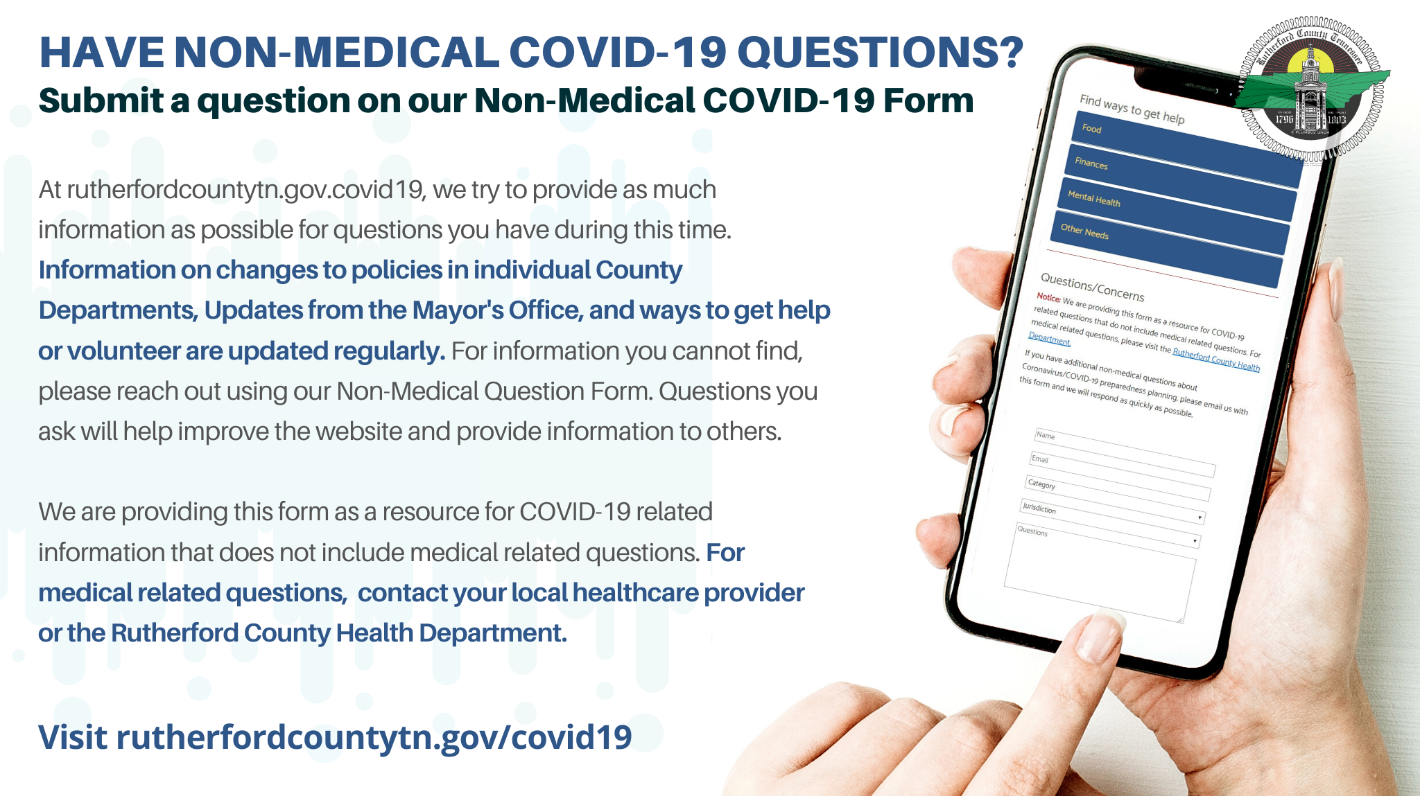 Rutherford County Government Creates Online Form to Submit COVID-19 Concerns/Questions