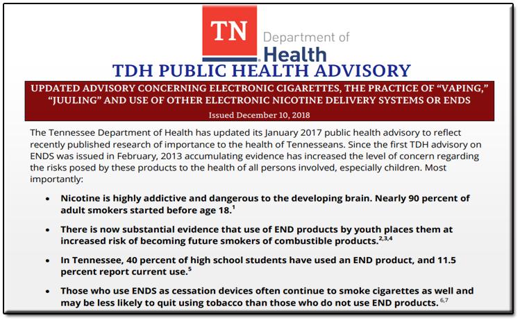 TN Dept. of Health talks E-Cigs