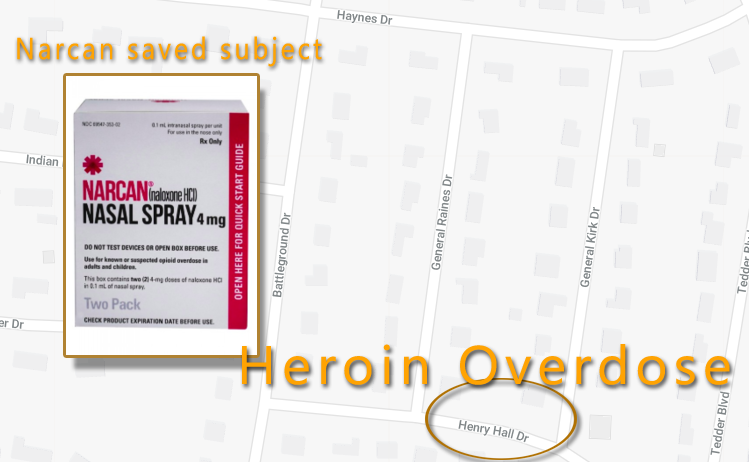 Heroin Overdose in Murfreesboro - Subject Receives Narcan and Survives