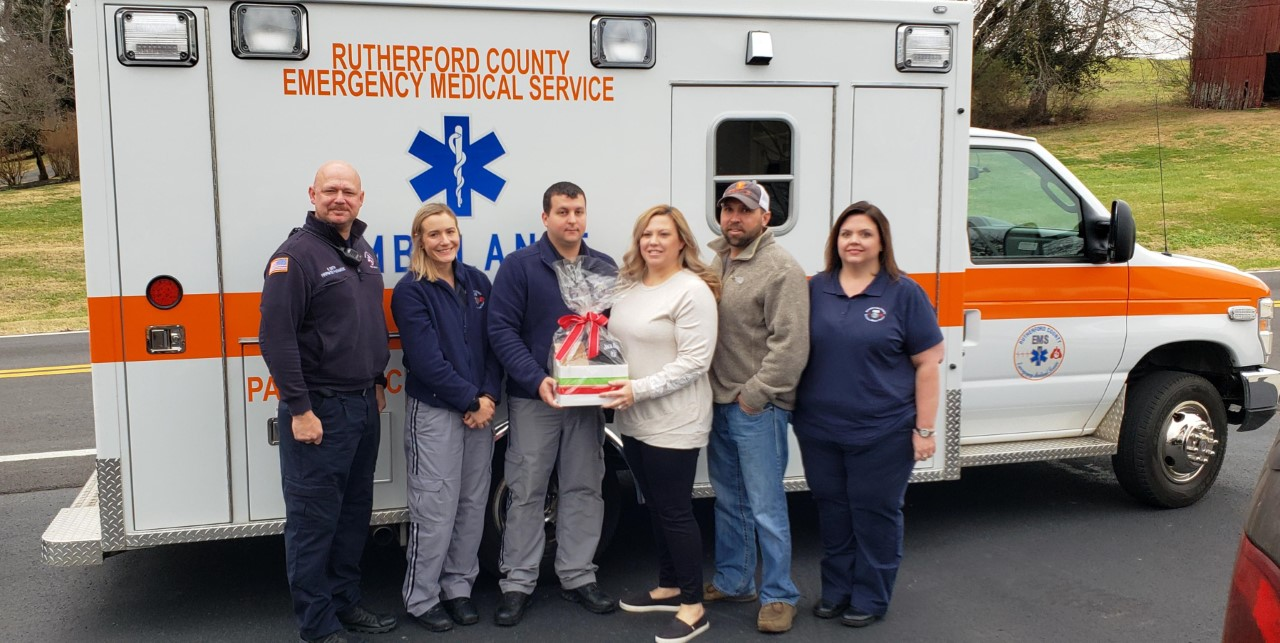 Chris and Lacey Ray of Lynchburg, Tennessee were reunited with a medic team from Rutherford County Emergency Medical Services (RCEMS) and a Rutherford County Dispatcher this week just a month after the team delivered their baby boy in the back of an ambulance.
