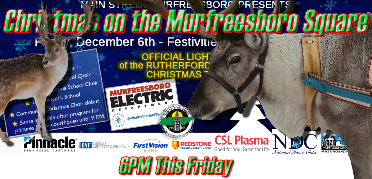 CHRISTMAS EVENT: Santa and his Reindeer on the Murfreesboro Square This Friday Night at 6