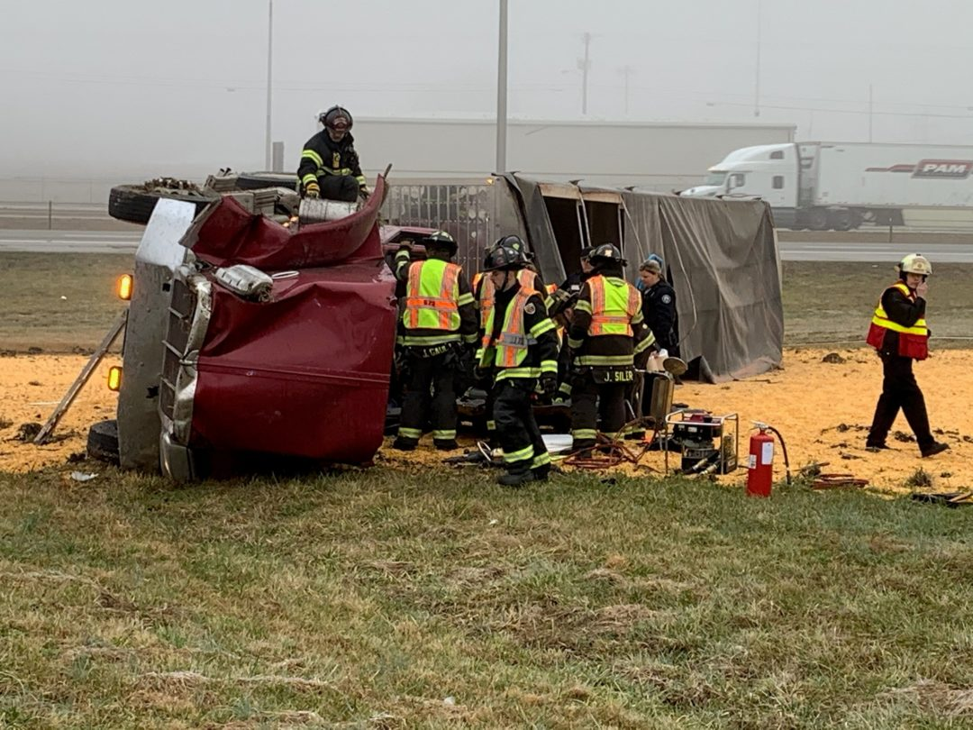 Traffic on Interstate 24 from Rutherford County through Manchester was slowed for a short time early Tuesday morning after a tractor trailer truck overturned.