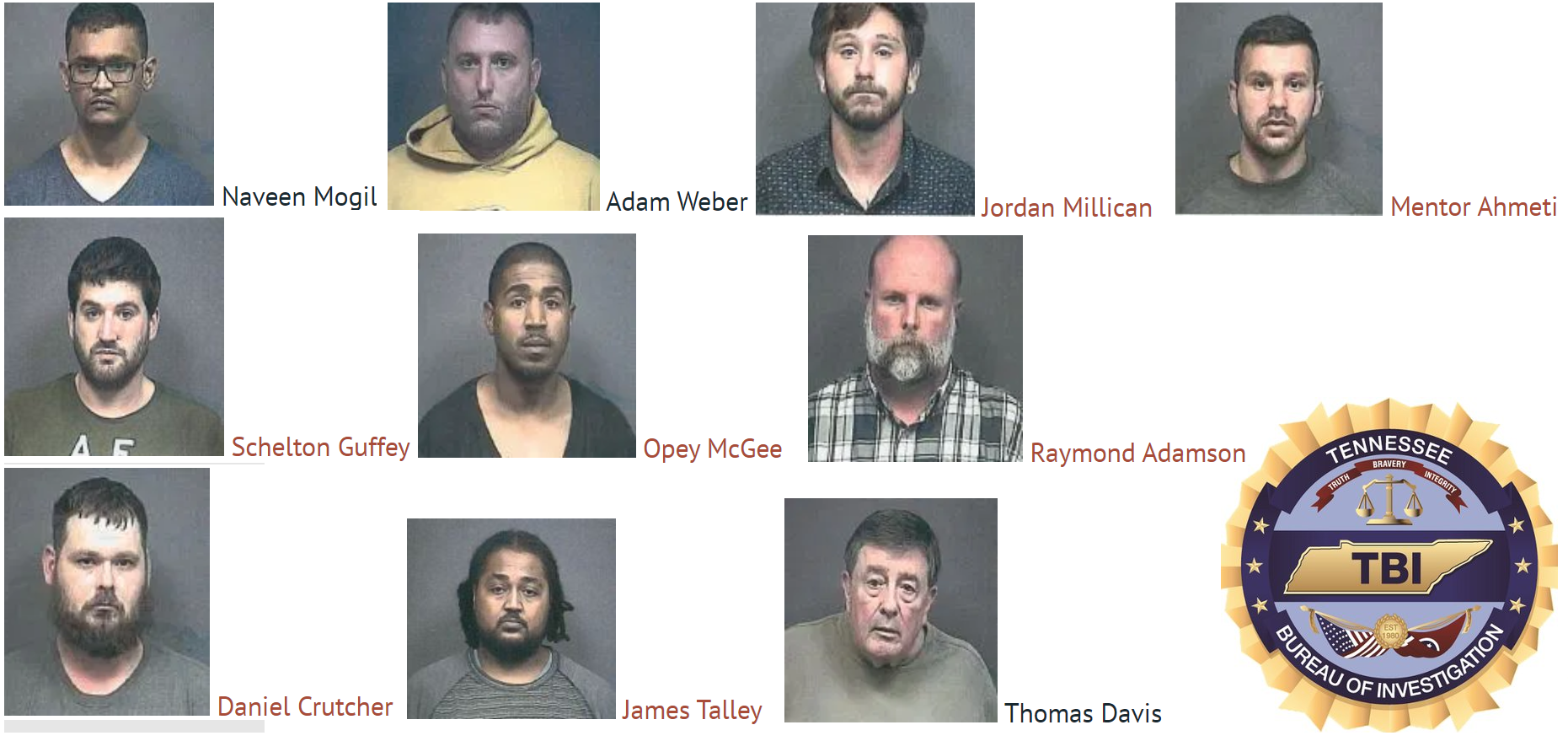 A two-day undercover operation by Special Agents with the TBI Human Trafficking Unit has resulted in the arrest of several men, including three who are charged with solicitation of a minor.