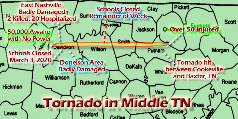 TORNADO Hits Nashville, Wilson, Benton, and Putnam Counties