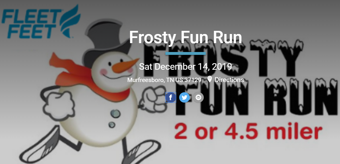 The annual Frosty Fun Run presented by Fleet Feet Murfreesboro will be held on December 14th this year. Krista Dugosh, owner of Fleet Feet told WGNS...