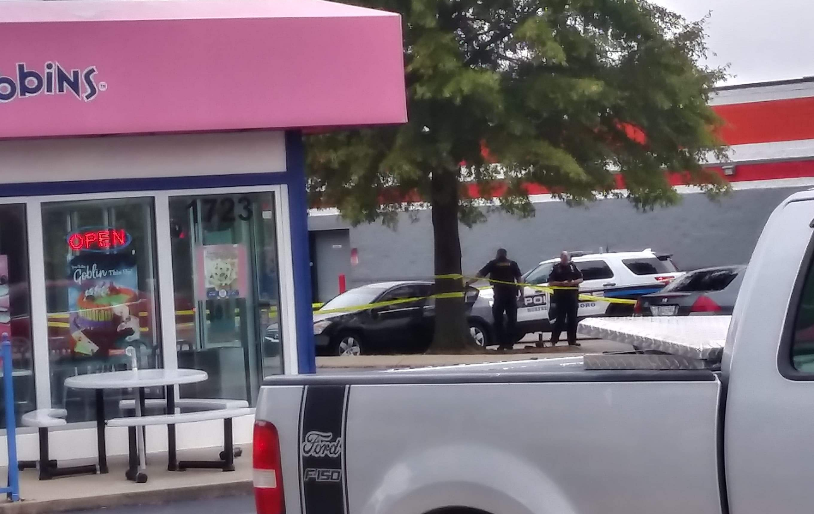 Car shot next to Memorial Blvd auto parts store
