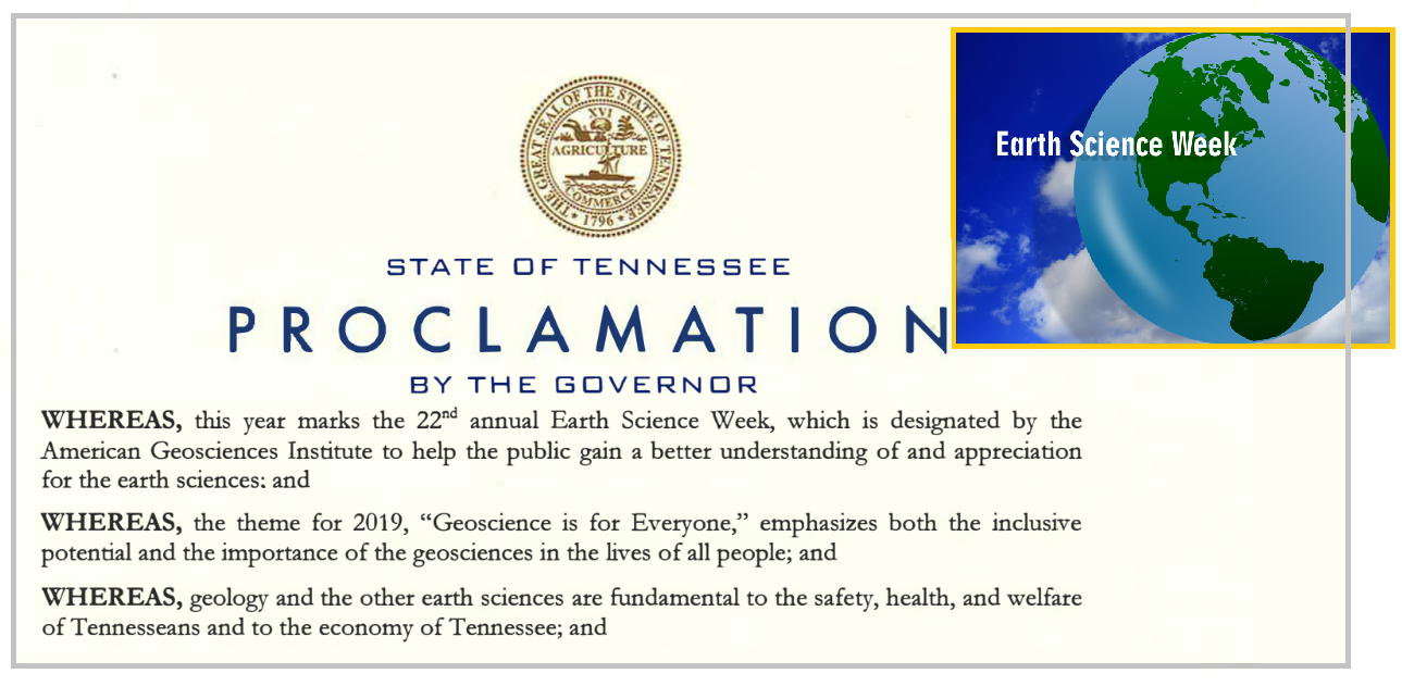 Tennessee Gov. Bill Lee has proclaimed October 13-19 Earth Science Week in Tennessee to promote awareness of the importance of geoscience.