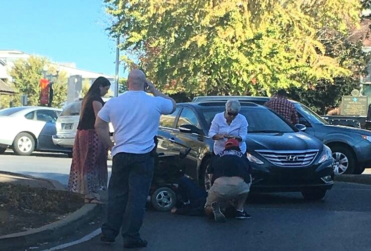 Man struck by car on local square not seriously injured