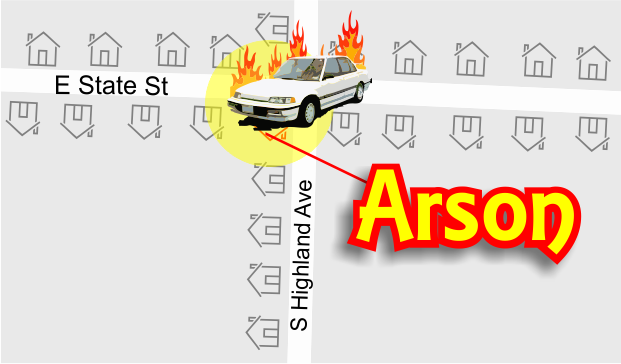 Arson of a car on E State Street