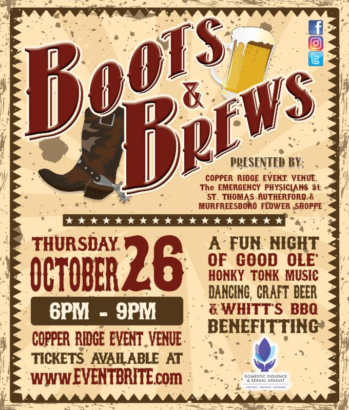 Boots & Brews event and help out the local Domestic Violence & Sexual Assault Center