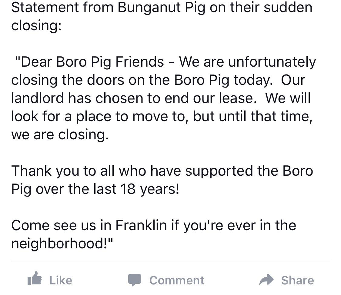 Local Bunganut Pig Closes
