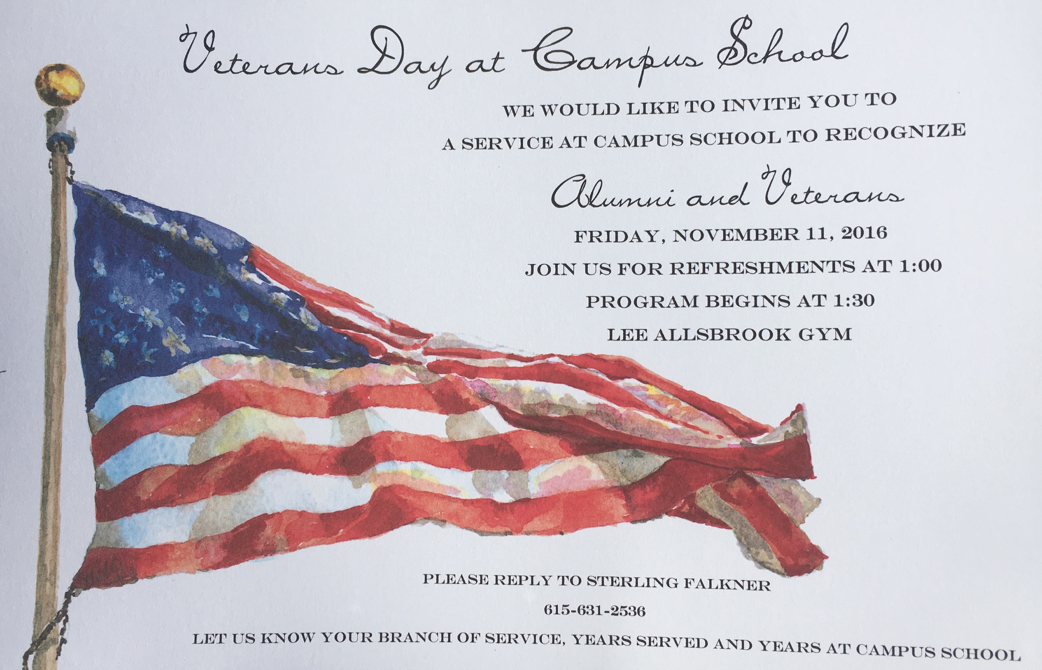 Veterans and Alumni at the Campus School Wanted