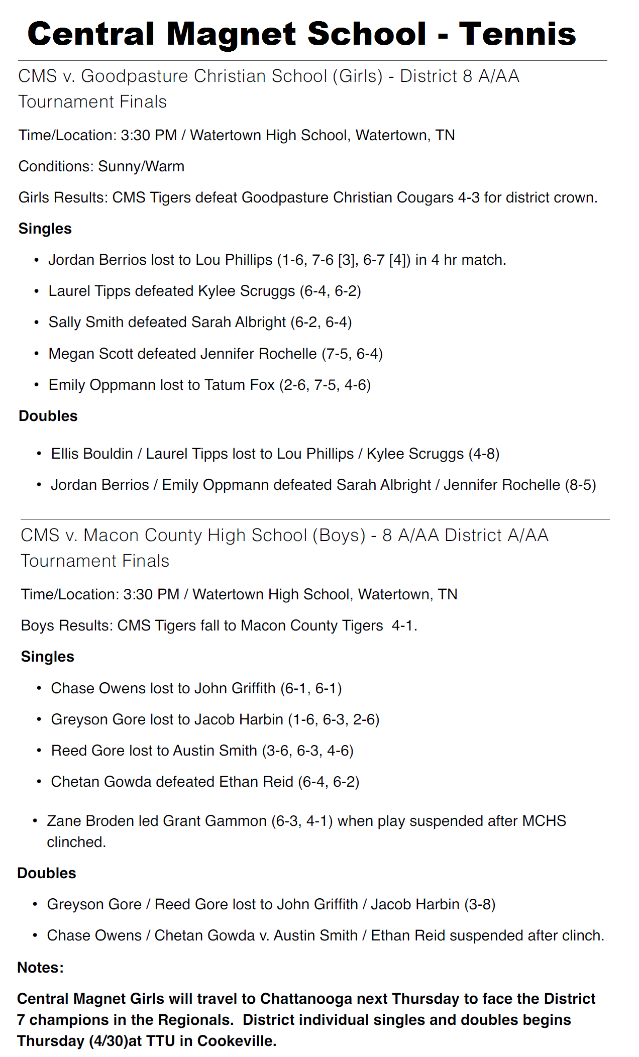 Central Magnet Tennis Scores - Released April 29, 2015