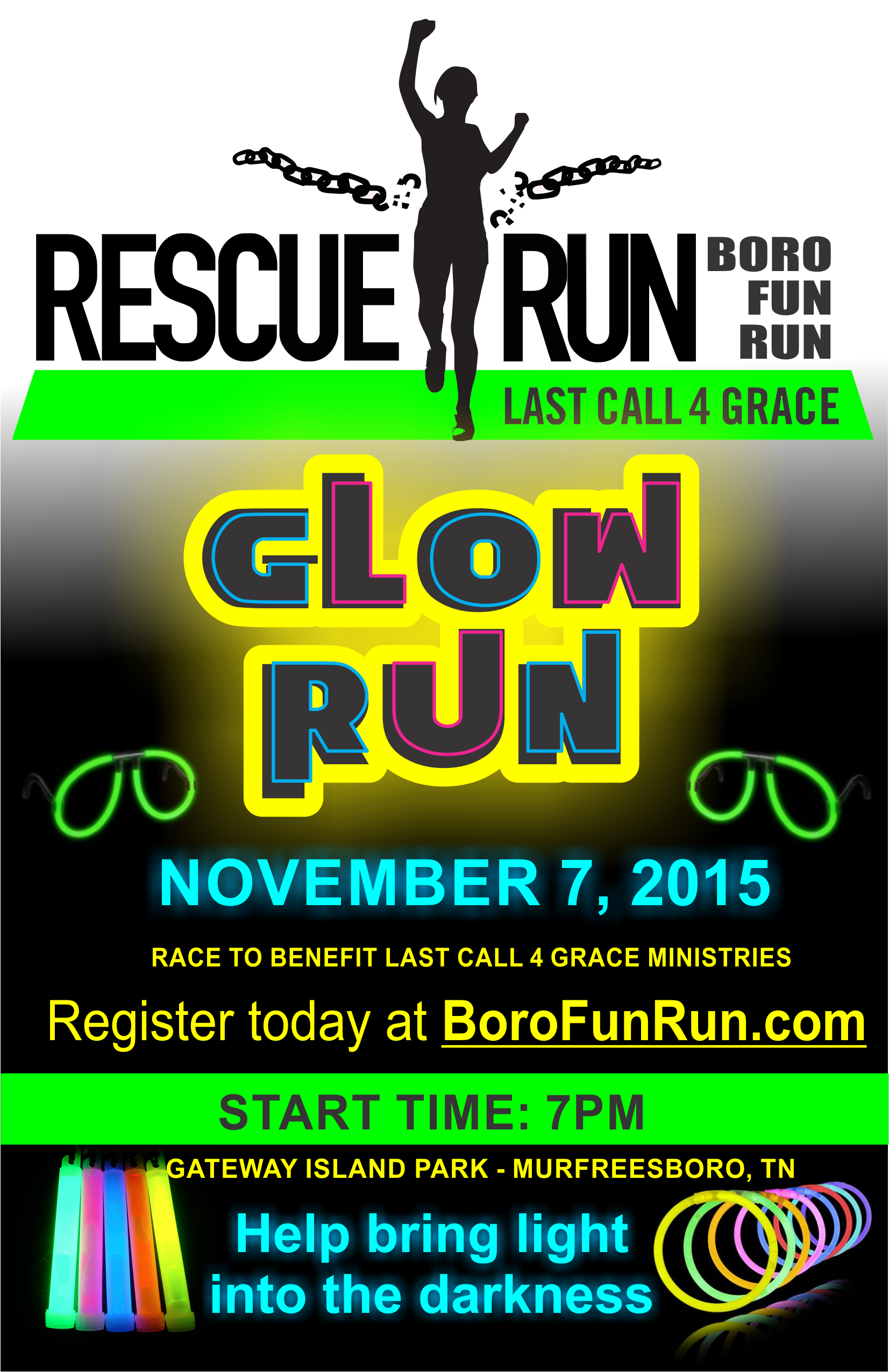 RESCUE RUN / GLOW RUN is THIS Saturday Night: Sign up on Race Day in Murfreesboro