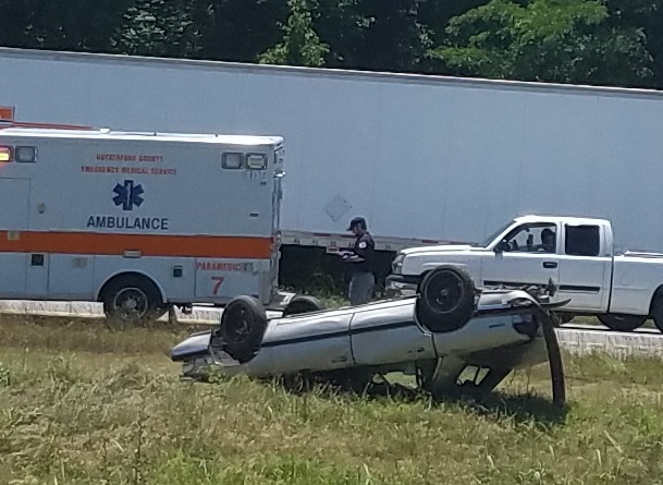 Two vehicles overturn on I-24 Thursday around noon
