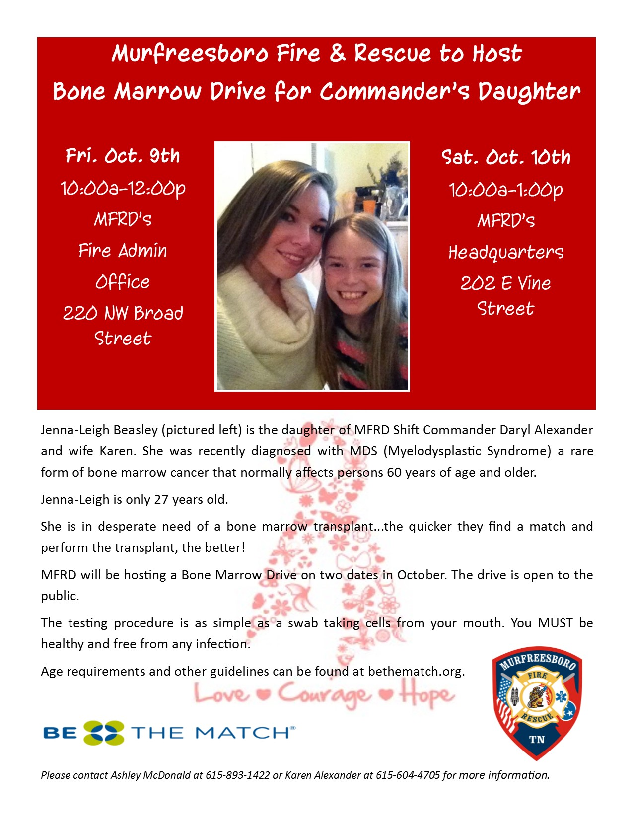 Bone Marrow Drive to help a young lady in Murfreesboro