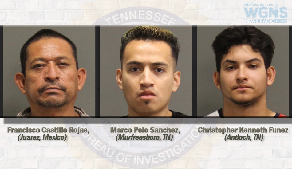Murfreesboro man and Two Others Arrested by TBI - Cocaine Seized